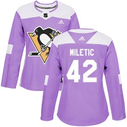 Sam Miletic Pittsburgh Penguins Women's Adidas Authentic Purple Fights Cancer Practice Jersey