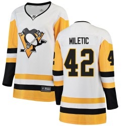 Sam Miletic Pittsburgh Penguins Women's Fanatics Branded White Breakaway Away Jersey