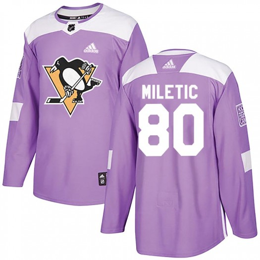 Sam Miletic Pittsburgh Penguins Youth Adidas Authentic Purple Fights Cancer Practice Jersey