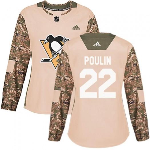 Samuel Poulin Pittsburgh Penguins Women's Adidas Authentic Camo Veterans Day Practice Jersey