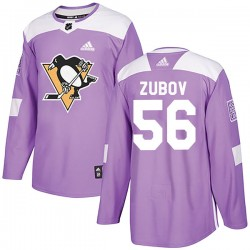 Sergei Zubov Pittsburgh Penguins Men's Adidas Authentic Purple Fights Cancer Practice Jersey