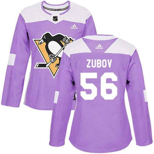 Sergei Zubov Pittsburgh Penguins Women's Adidas Authentic Purple Fights Cancer Practice Jersey