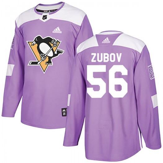 Sergei Zubov Pittsburgh Penguins Youth Adidas Authentic Purple Fights Cancer Practice Jersey