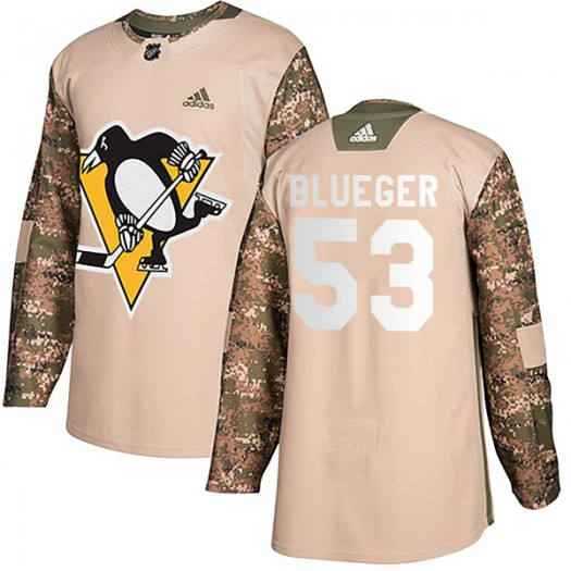 Teddy Blueger Pittsburgh Penguins Men's Adidas Authentic Blue Camo Veterans Day Practice Jersey