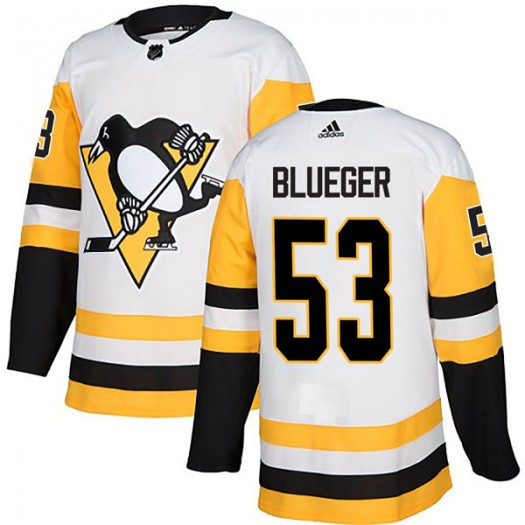 Teddy Blueger Pittsburgh Penguins Men's Adidas Authentic Blue White Away Jersey