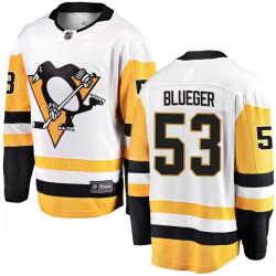 Teddy Blueger Pittsburgh Penguins Men's Fanatics Branded Blue Breakaway White Away Jersey