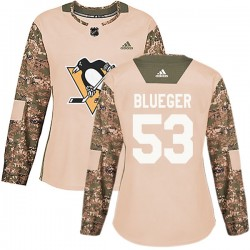 Teddy Blueger Pittsburgh Penguins Women's Adidas Authentic Blue Camo Veterans Day Practice Jersey