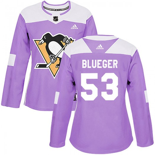 Teddy Blueger Pittsburgh Penguins Women's Adidas Authentic Blue Purple Fights Cancer Practice Jersey