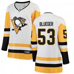 Teddy Blueger Pittsburgh Penguins Women's Fanatics Branded Blue Breakaway White Away Jersey