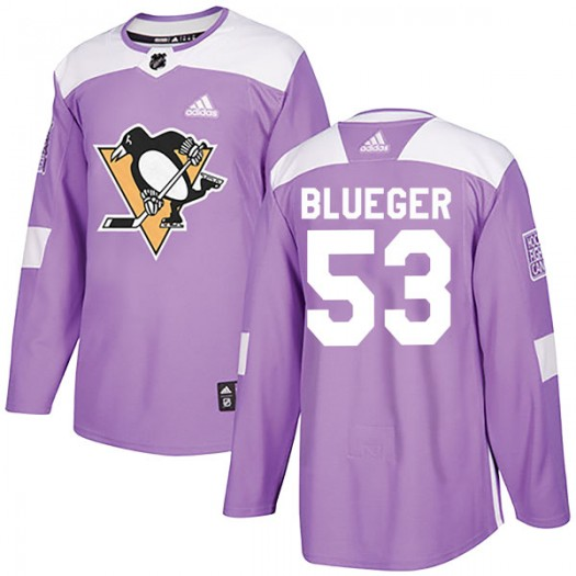Teddy Blueger Pittsburgh Penguins Youth Adidas Authentic Blue Purple Fights Cancer Practice Jersey