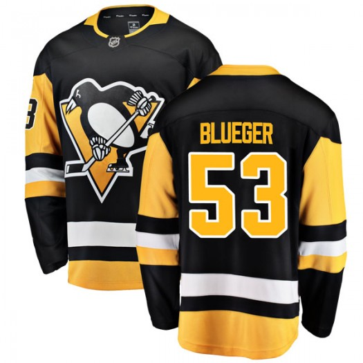 Teddy Blueger Pittsburgh Penguins Youth Fanatics Branded Blue Breakaway Black Home Jersey