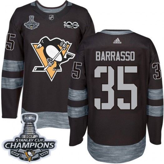 Tom Barrasso Pittsburgh Penguins Men's Adidas Authentic Black 1917-2017 100th Anniversary 2017 Stanley Cup Champions Jersey