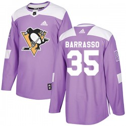 Tom Barrasso Pittsburgh Penguins Men's Adidas Authentic Purple Fights Cancer Practice Jersey