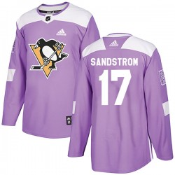 Tomas Sandstrom Pittsburgh Penguins Men's Adidas Authentic Purple Fights Cancer Practice Jersey