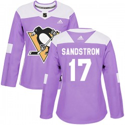Tomas Sandstrom Pittsburgh Penguins Women's Adidas Authentic Purple Fights Cancer Practice Jersey