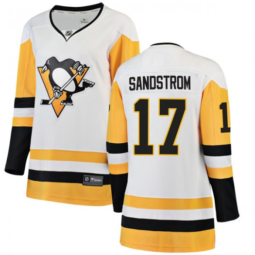 Tomas Sandstrom Pittsburgh Penguins Women's Fanatics Branded White Breakaway Away Jersey