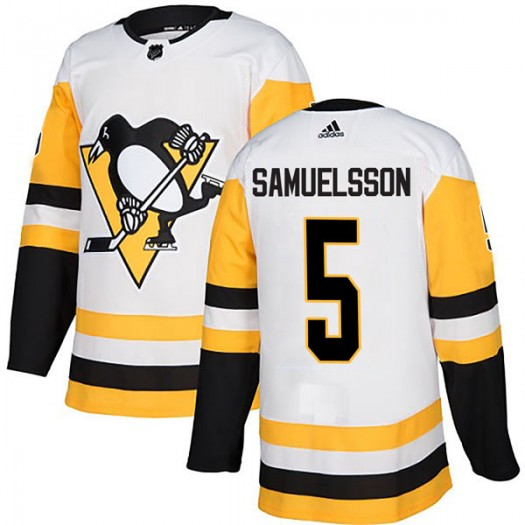 Ulf Samuelsson Pittsburgh Penguins Youth Adidas Authentic White Away Jersey