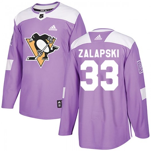 Zarley Zalapski Pittsburgh Penguins Men's Adidas Authentic Purple Fights Cancer Practice Jersey