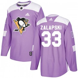 Zarley Zalapski Pittsburgh Penguins Youth Adidas Authentic Purple Fights Cancer Practice Jersey