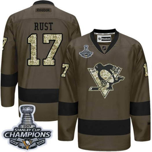 Bryan Rust Pittsburgh Penguins Men's Reebok Authentic Green Salute to Service 2016 Stanley Cup Champions Jersey
