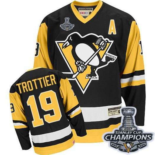 Bryan Trottier Pittsburgh Penguins Men's CCM Premier Black Throwback 2016 Stanley Cup Champions Jersey