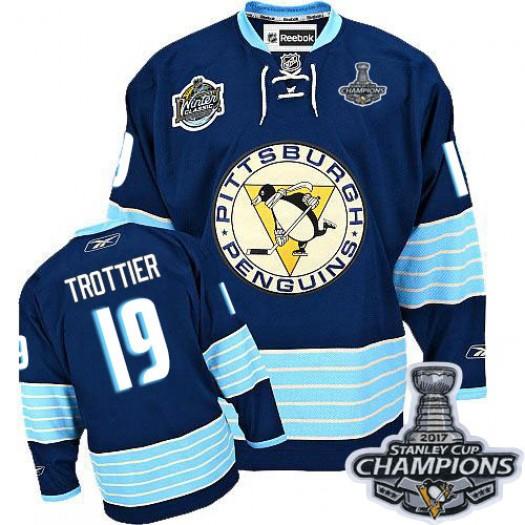 Bryan Trottier Pittsburgh Penguins Men's Reebok Authentic Navy Blue Third Vintage 2016 Stanley Cup Champions Jersey
