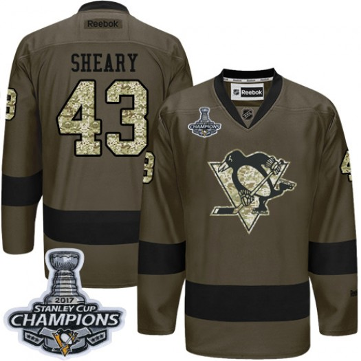 Conor Sheary Pittsburgh Penguins Men's Reebok Authentic Green Salute to Service 2016 Stanley Cup Champions Jersey