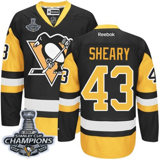Conor Sheary Pittsburgh Penguins Men's Reebok Premier Black/Gold Third 2016 Stanley Cup Champions Jersey