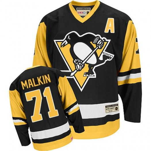 Evgeni Malkin Pittsburgh Penguins Men's CCM Authentic Black Throwback Jersey