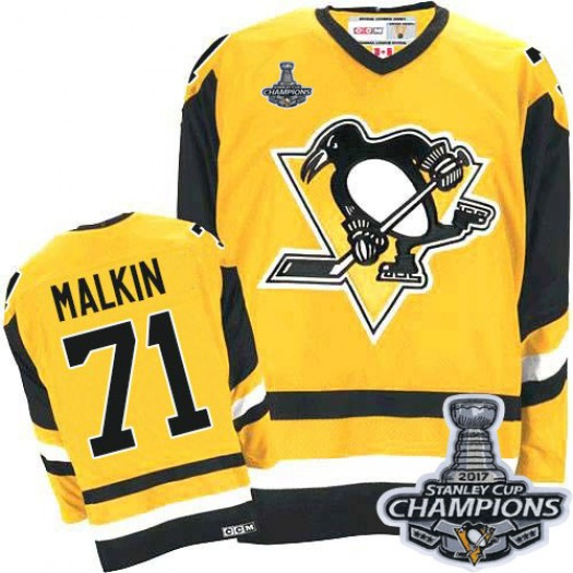 Evgeni Malkin Pittsburgh Penguins Men's CCM Authentic Gold Throwback 2016 Stanley Cup Champions Jersey