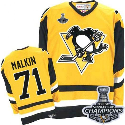 Evgeni Malkin Pittsburgh Penguins Men's CCM Premier Gold Throwback 2016 Stanley Cup Champions Jersey