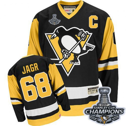 Jaromir Jagr Pittsburgh Penguins Men's CCM Authentic Black Throwback 2016 Stanley Cup Champions Jersey