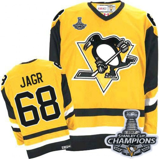 Jaromir Jagr Pittsburgh Penguins Men's CCM Authentic Yellow Throwback 2016 Stanley Cup Champions Jersey