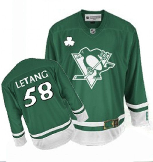 Kris Letang Pittsburgh Penguins Men's Reebok Authentic Green St Patty's Day Jersey