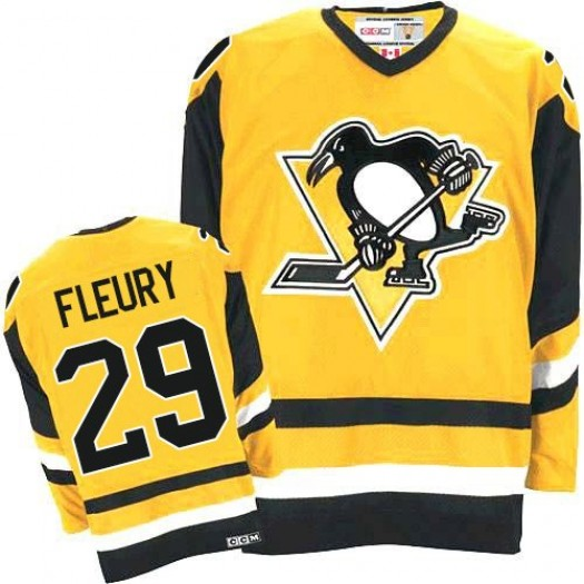 Marc-Andre Fleury Pittsburgh Penguins Men's CCM Authentic Gold Throwback Jersey