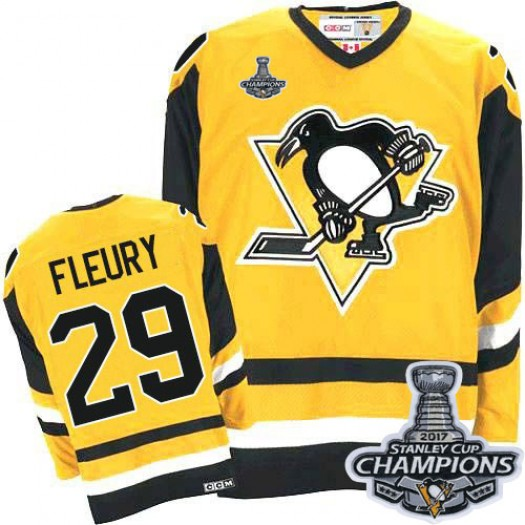 Marc-Andre Fleury Pittsburgh Penguins Men's CCM Premier Gold Throwback 2016 Stanley Cup Champions Jersey
