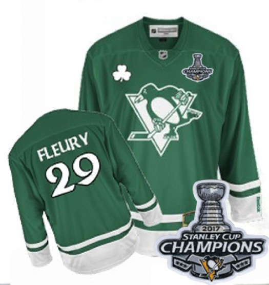 Marc-Andre Fleury Pittsburgh Penguins Men's Reebok Authentic Green St Patty's Day 2016 Stanley Cup Champions Jersey