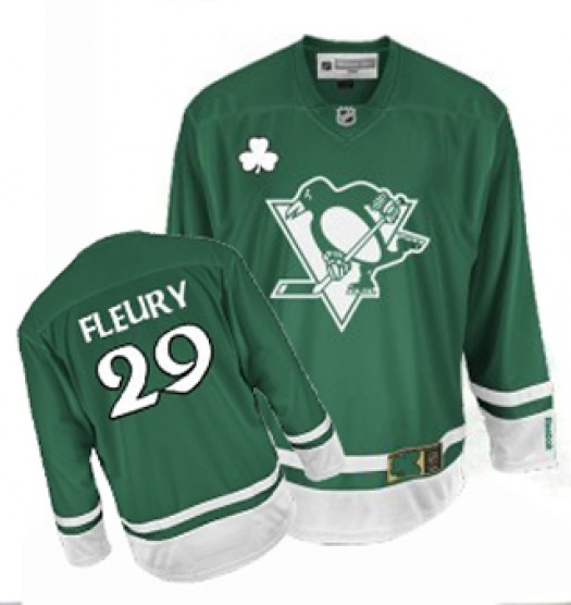 Marc-Andre Fleury Pittsburgh Penguins Men's Reebok Authentic Green St Patty's Day Jersey