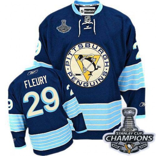 Marc-Andre Fleury Pittsburgh Penguins Men's Reebok Authentic Navy Blue Third Vintage 2016 Stanley Cup Champions Jersey