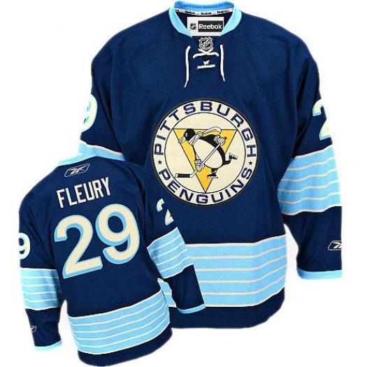 Marc-Andre Fleury Pittsburgh Penguins Men's Reebok Authentic Navy Blue Third Vintage Jersey