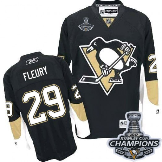 Marc-Andre Fleury Pittsburgh Penguins Men's Reebok Premier Black Home 2016 Stanley Cup Champions Jersey