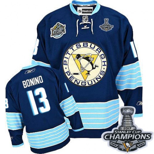 Nick Bonino Pittsburgh Penguins Men's Reebok Premier Navy Blue Third Vintage 2016 Stanley Cup Champions Jersey