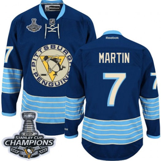 Paul Martin Pittsburgh Penguins Men's Reebok Authentic Navy Blue Third Vintage 2016 Stanley Cup Champions Jersey