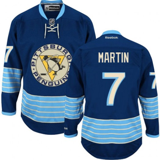 Paul Martin Pittsburgh Penguins Men's Reebok Authentic Navy Blue Third Vintage Jersey