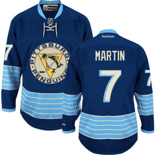Paul Martin Pittsburgh Penguins Men's Reebok Premier Navy Blue Third Vintage Jersey