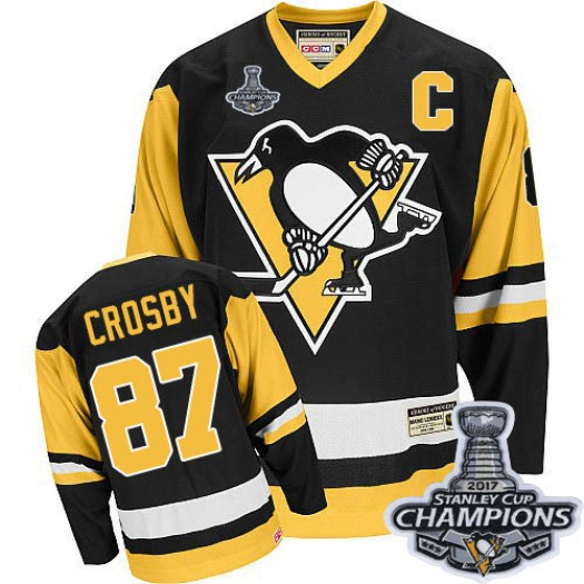 Sidney Crosby Pittsburgh Penguins Men's CCM Authentic Black Throwback 2016 Stanley Cup Champions Jersey