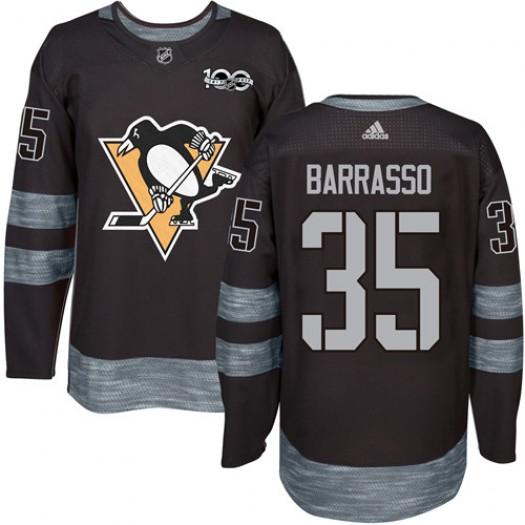 Tom Barrasso Pittsburgh Penguins Men's Adidas Premier Black 1917-2017 100th Anniversary Jersey