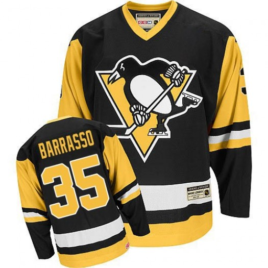 Tom Barrasso Pittsburgh Penguins Men's CCM Authentic Black Throwback Jersey