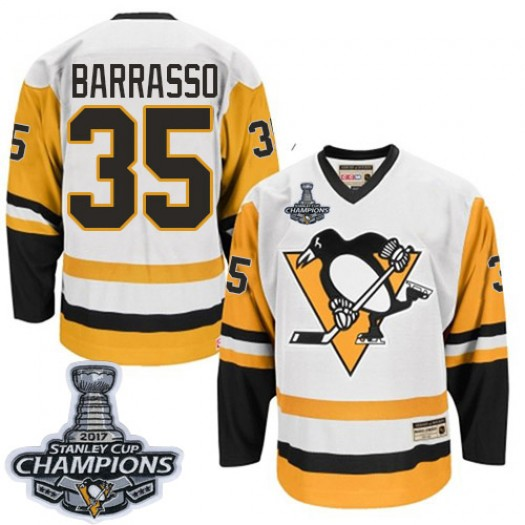 Tom Barrasso Pittsburgh Penguins Men's CCM Authentic White Throwback 2016 Stanley Cup Champions Jersey