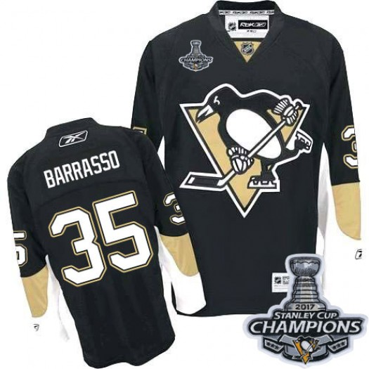 Tom Barrasso Pittsburgh Penguins Men's Reebok Authentic Black Home 2016 Stanley Cup Champions Jersey